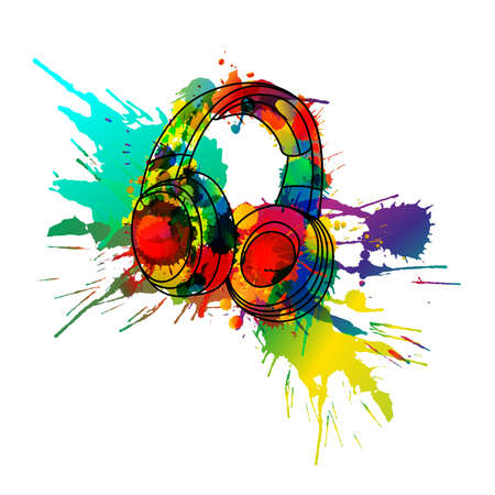 splatter paint: Headphones made of colorful splashes