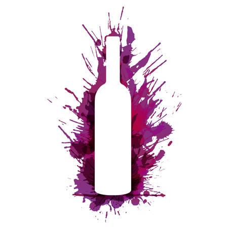 vinho: Frasco de vinho na frente de grunge colorido espirra