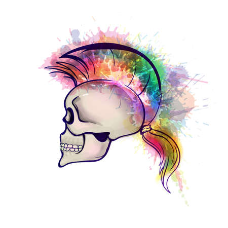 mohawk: Skull with mohawk hair style made of colorful grunge splashes