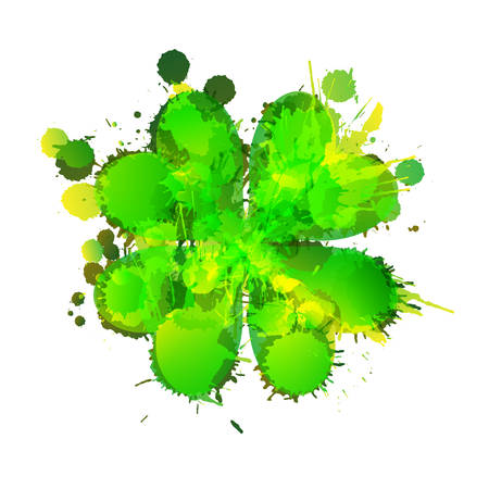 lucky clover: Lucky clover leaf made of colorful grunge splashes Illustration