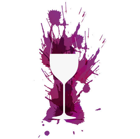 カラフルなグランジの前にワイングラスが飛沫します。