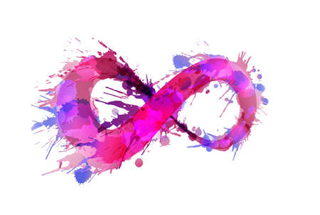 Infinity symbol made of colorful grunge splashes Çizim