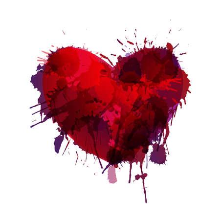 colorful grunge: Heart made of colorful grunge splashes Illustration