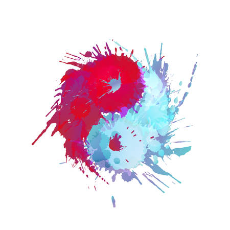 Yin and Yang made of colorful splashes  イラスト・ベクター素材