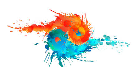Yin and Yang made of colorful splashes Çizim