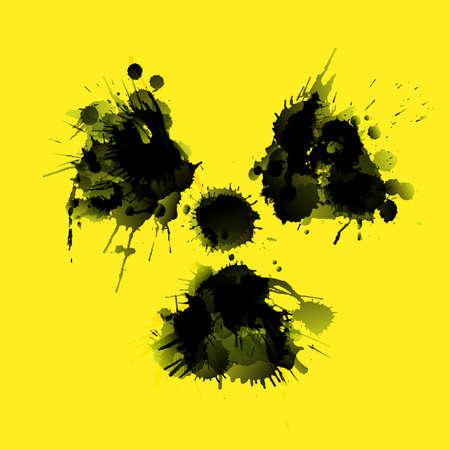 radioactivity: Radioactivity danger sign made of grunge splashes on yellow background