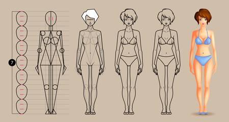 Drawing lesson female body Vettoriali