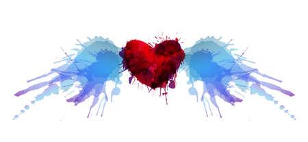 Serce ze skrzydłami wykonanymi z kolorowymi plamami grunge