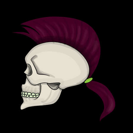 metal drawing: Skull with mohawk hair style isolated Illustration