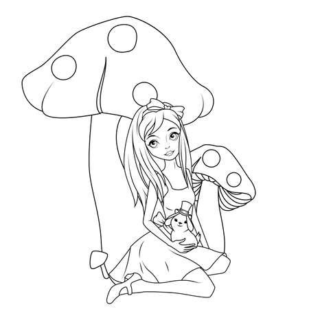 infancia: libro para colorear: Alicia en el frente de conejo celebración de hongo que lleva el sombrero de copa Vectores