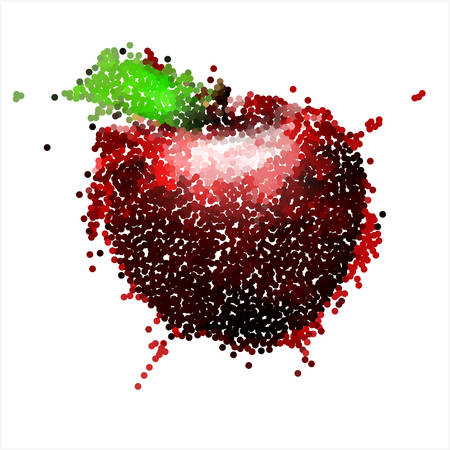 pointillism: Pointillism style red apple