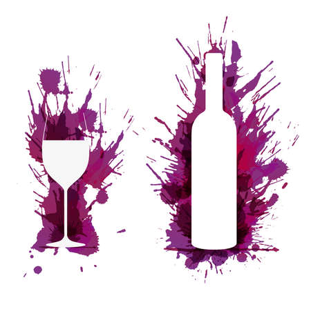 bottle wine: Wine glass and bottle in front of colorful grunge splashes Illustration