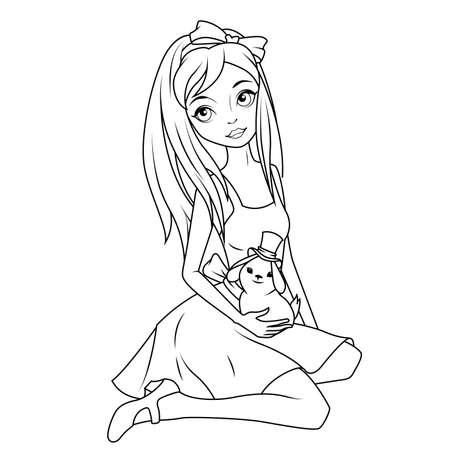 Ilustración Del Vector Del Libro De Colorear De Alice Wonderland ...