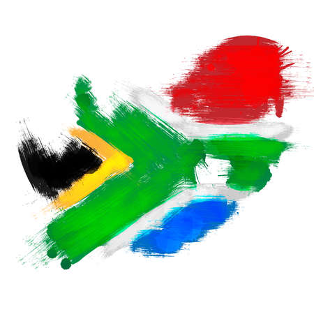 south african: Grunge map of South Africa with South African flag