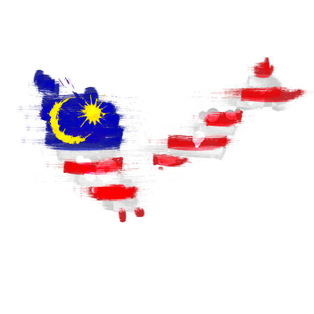 Grunge map of Malaysia with Malaysian flag