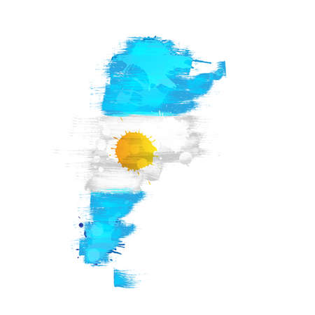 argentinian flag: Grunge map of Argentina with Argentinian flag