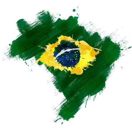 brazilian flag: Grunge map of Brazil with Brazilian flag Illustration