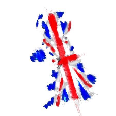 grunge union jack: Grunge map of United Kingdom with Union Jack