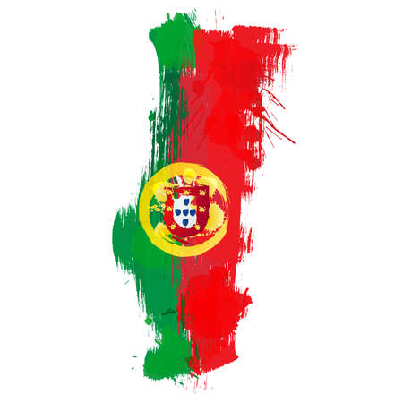 portugal: Grunge map of Portugal with Portuguese flag