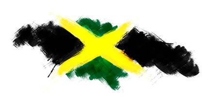 jamaica: Grunge map of Jamaica with Jamaican flag