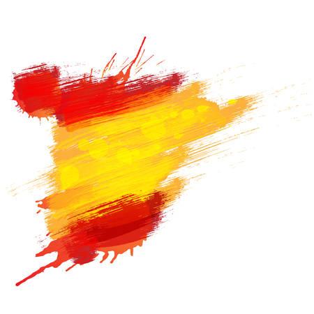 spanish flag: Grunge map of Spain with Spanish flag