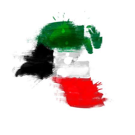 national: Correspondencia de Grunge de Kuwait con la bandera Vectores