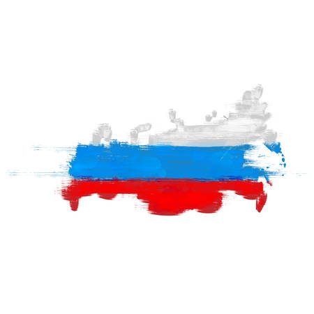 federation: Grunge map of Russian Federation with Russian flag