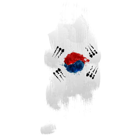 Grunge map of South Korea with South Korean flag Illustration