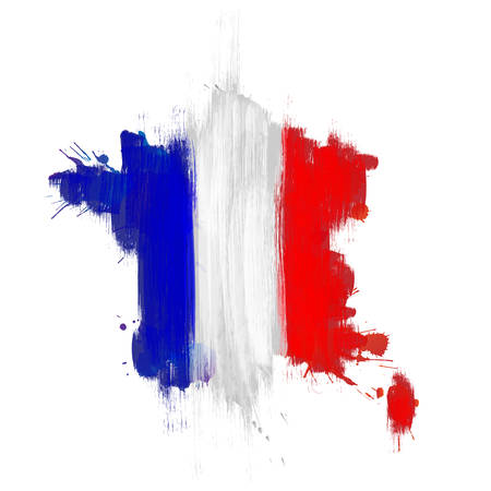 french flag: Grunge map of France with French flag Illustration