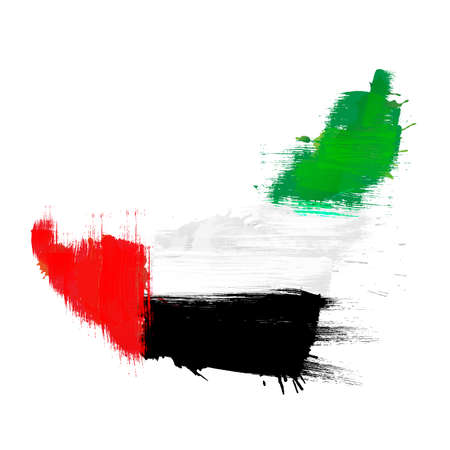 Grunge map of United Arab Emirates with UAE flag 向量圖像