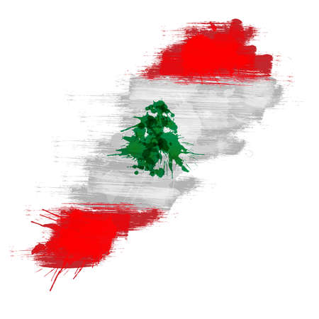 lebanese: Grunge map of Lebanon with Lebanese flag