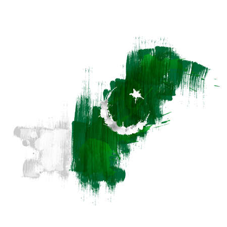 pakistan flag: Grunge map of Pakistan with Pakistanian flag