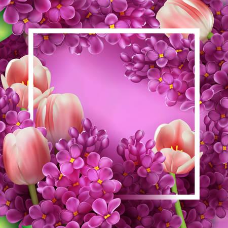 Helder lila bloemen en tulpen decoratieve frame template