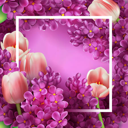Bright lilac flowers and tulips decorative frame template
