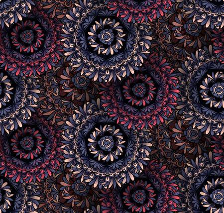 ottoman fabric: Psychedelic mandala seamless pattern