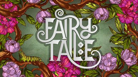 Fairy Tale belettering versierd met kleurrijke bloemen en bladeren Vector Illustratie