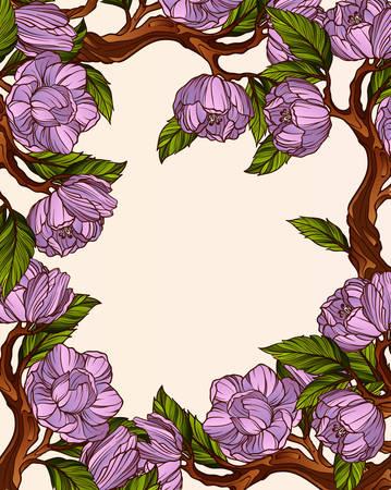 magnolia: Magnolia flowers frame