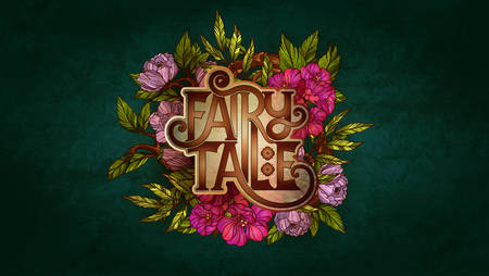 once: Fairy Tale lettering decorated with colorful flowers and leaves