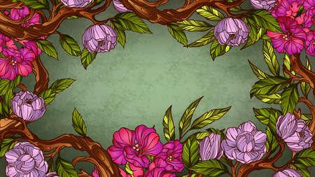 vintage floral frame: Vintage colorful floral frame Illustration