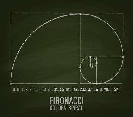 Approximation of Golden Ratio Spiral by Fibonacci numbers illustration Vectores