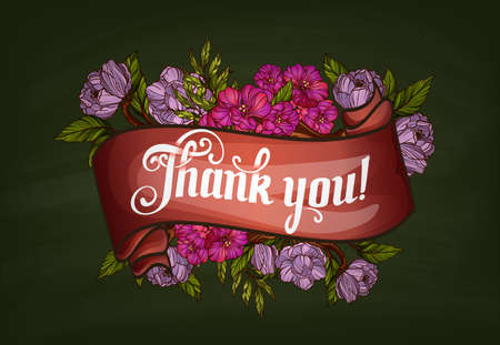 thank you lettering decorated with flowers poster template royalty