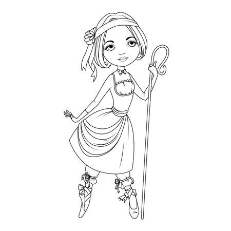 Coloring book: Shepherdess character Иллюстрация