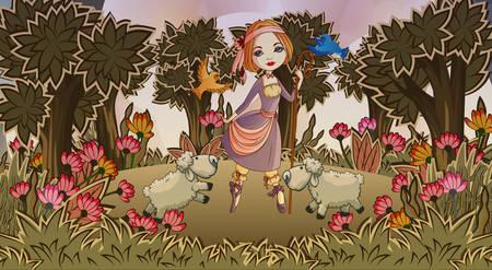Shepherdess with lambs