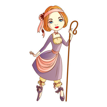 pastoral: Shepherdess character isolated Illustration