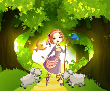 Shepherdess with lambs in front of forest