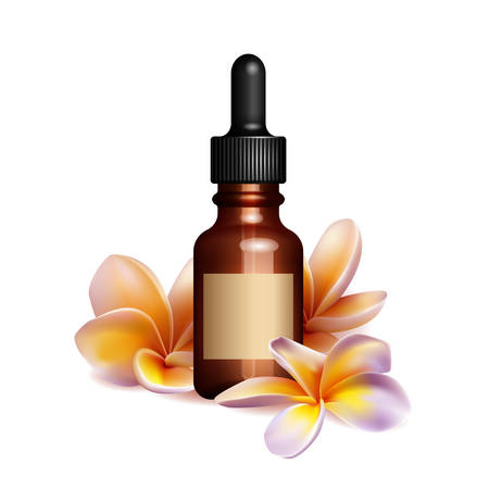Réaliste bouteille d'huile essentielle et fleurs de frangipanier