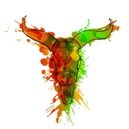 calavera: cráneo del toro hecho de salpicaduras de colores grunge