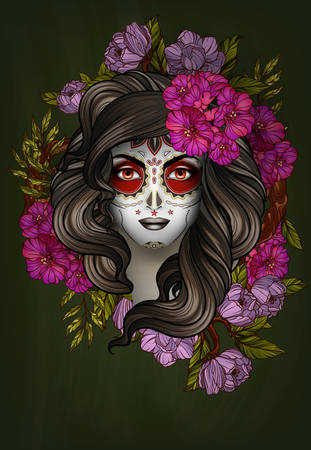 Woman with calavera makeup. Day of the Dead (Dia de los Muertos) concept Ilustração