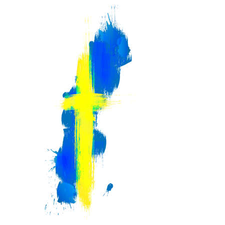 swedish: Grunge map of Sweden with Swedish flag
