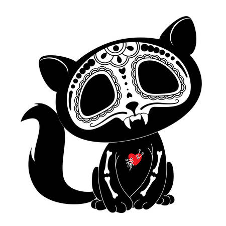 Dag van de Doden (Dia de los Muertos) stijl kitty Stock Illustratie
